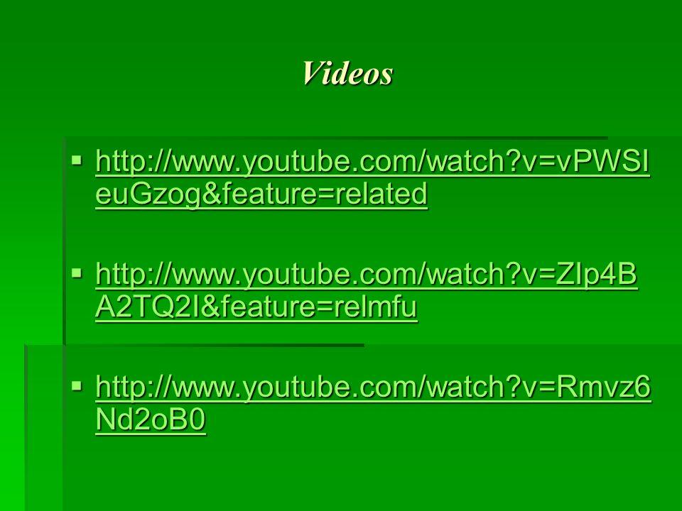 Videos http://www.youtube.com/watch?v=vPWSI euGzog&feature=related http://www.youtube.com/watch?v=vPWSI euGzog&feature=related http://www.youtube.com/