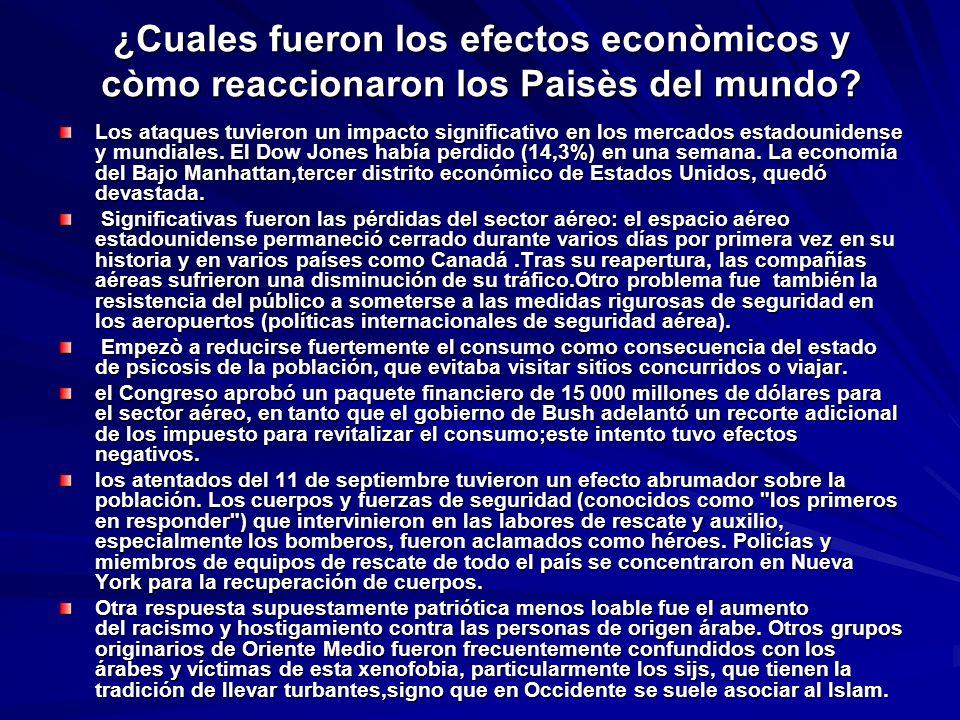 ¿Cuales fueron los efectos econòmicos y còmo reaccionaron los Paisès del mundo? Los ataques tuvieron un impacto significativo en los mercados estadoun