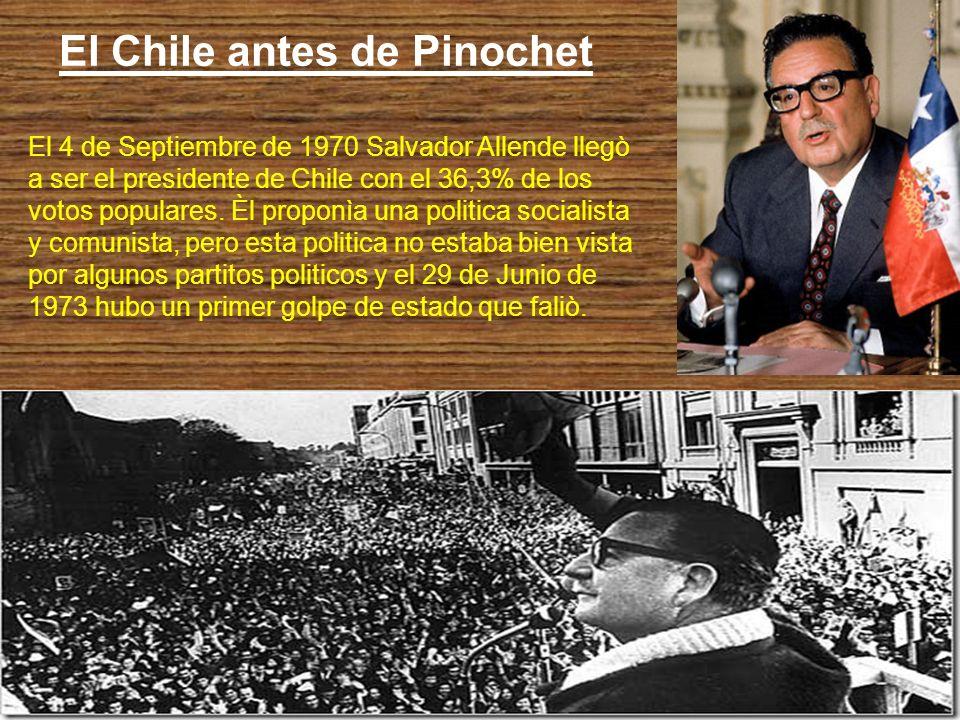 El golpe de estado de Pinochet (11 de Septiembre de 1973) El 11 de Septiembre de 1973 el general Pinochet, a la guìa del ejercito, bombardò el palacio presidencial y asì tomò el poder.