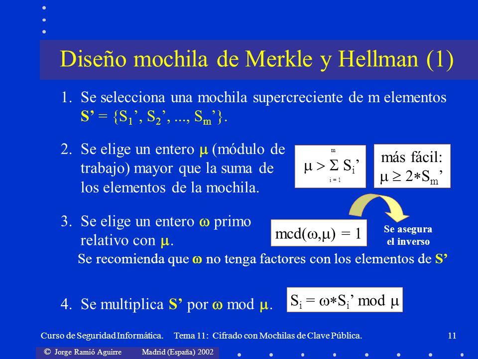 © Jorge Ramió Aguirre Madrid (España) 2002 Curso de Seguridad Informática. Tema 11: Cifrado con Mochilas de Clave Pública.11 1.Se selecciona una mochi