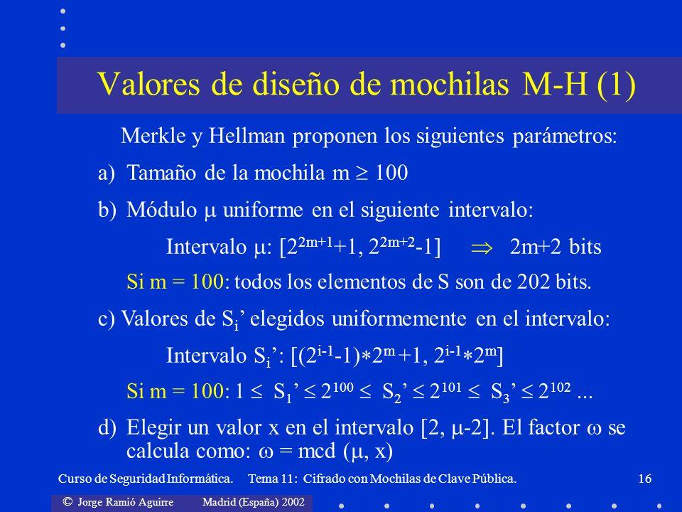 © Jorge Ramió Aguirre Madrid (España) 2002 Curso de Seguridad Informática. Tema 11: Cifrado con Mochilas de Clave Pública.16 Merkle y Hellman proponen