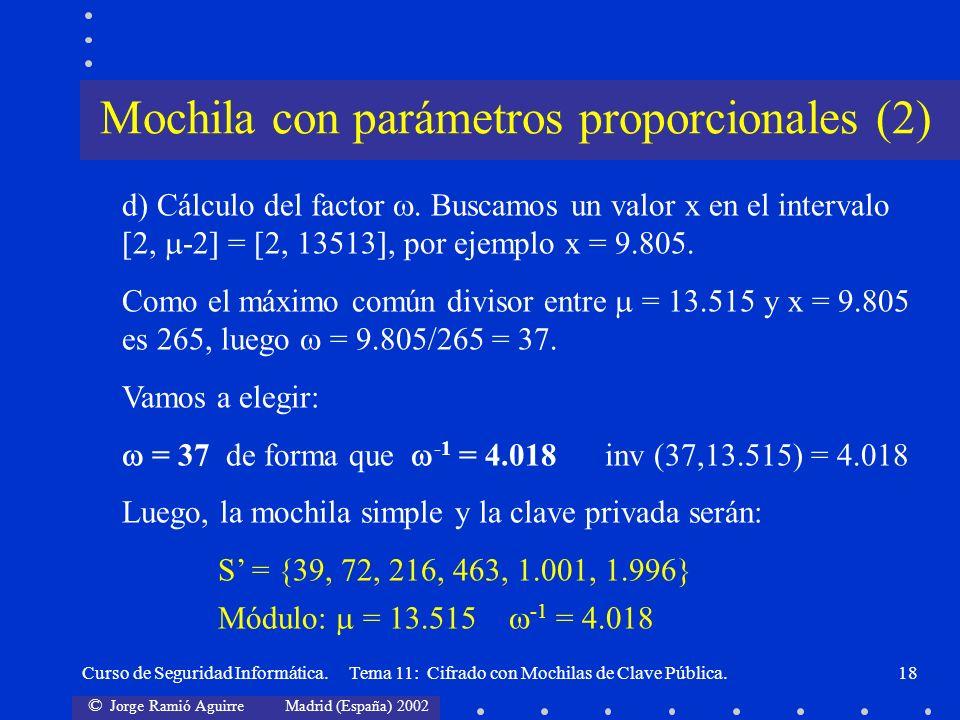 © Jorge Ramió Aguirre Madrid (España) 2002 Curso de Seguridad Informática. Tema 11: Cifrado con Mochilas de Clave Pública.18 d) Cálculo del factor. Bu