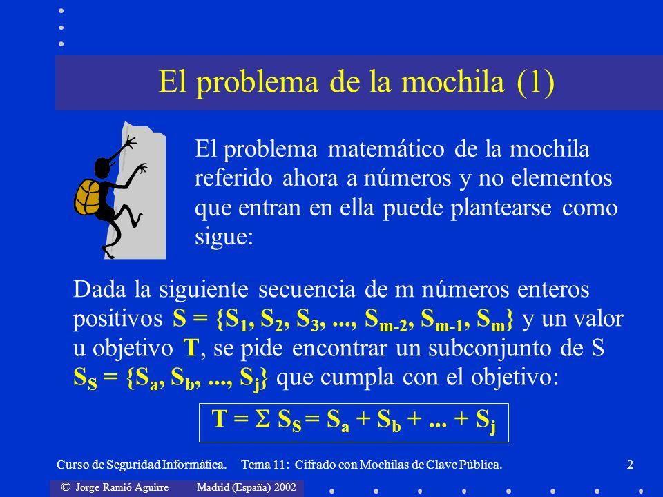 © Jorge Ramió Aguirre Madrid (España) 2002 Curso de Seguridad Informática. Tema 11: Cifrado con Mochilas de Clave Pública.2 El problema matemático de