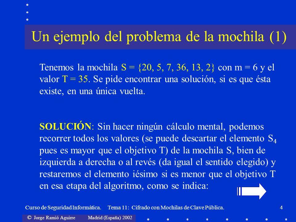 © Jorge Ramió Aguirre Madrid (España) 2002 Curso de Seguridad Informática. Tema 11: Cifrado con Mochilas de Clave Pública.4 Tenemos la mochila S = {20