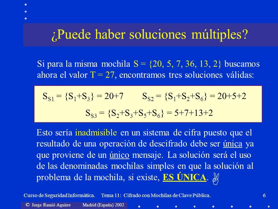 © Jorge Ramió Aguirre Madrid (España) 2002 Curso de Seguridad Informática. Tema 11: Cifrado con Mochilas de Clave Pública.6 Si para la misma mochila S