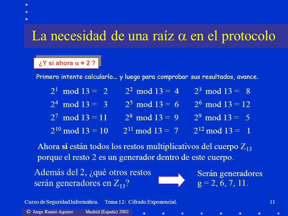 © Jorge Ramió Aguirre Madrid (España) 2002 Curso de Seguridad Informática. Tema 12: Cifrado Exponencial.11 Primero intente calcularlo... y luego para