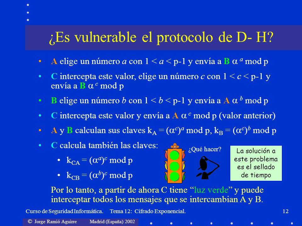 © Jorge Ramió Aguirre Madrid (España) 2002 Curso de Seguridad Informática. Tema 12: Cifrado Exponencial.12 A elige un número a con 1 < a < p-1 y envía