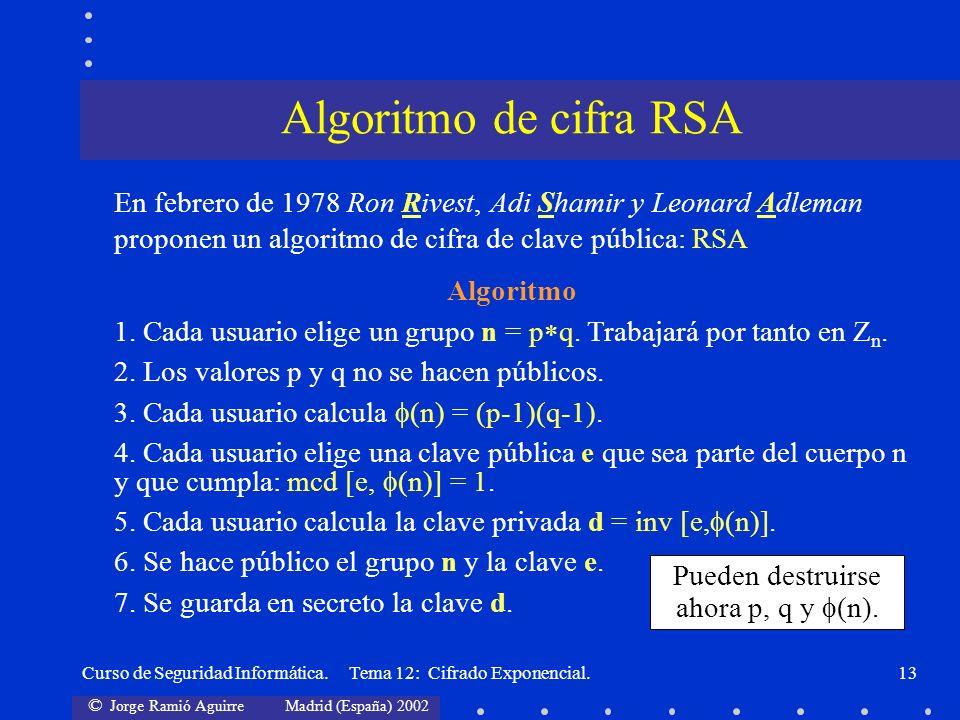 © Jorge Ramió Aguirre Madrid (España) 2002 Curso de Seguridad Informática. Tema 12: Cifrado Exponencial.13 En febrero de 1978 Ron Rivest, Adi Shamir y