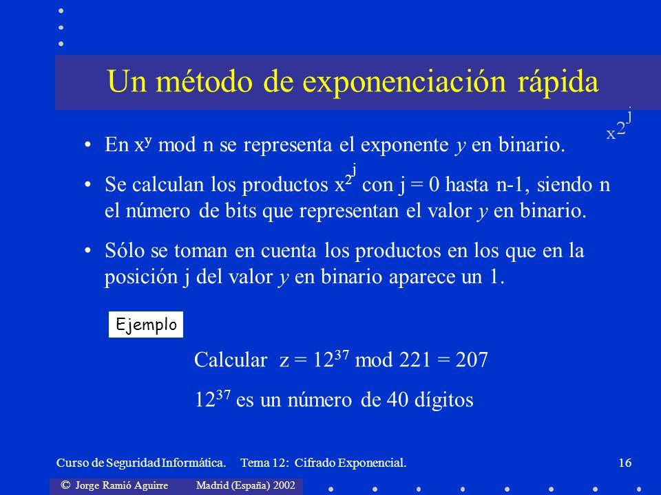© Jorge Ramió Aguirre Madrid (España) 2002 Curso de Seguridad Informática. Tema 12: Cifrado Exponencial.16 En x y mod n se representa el exponente y e