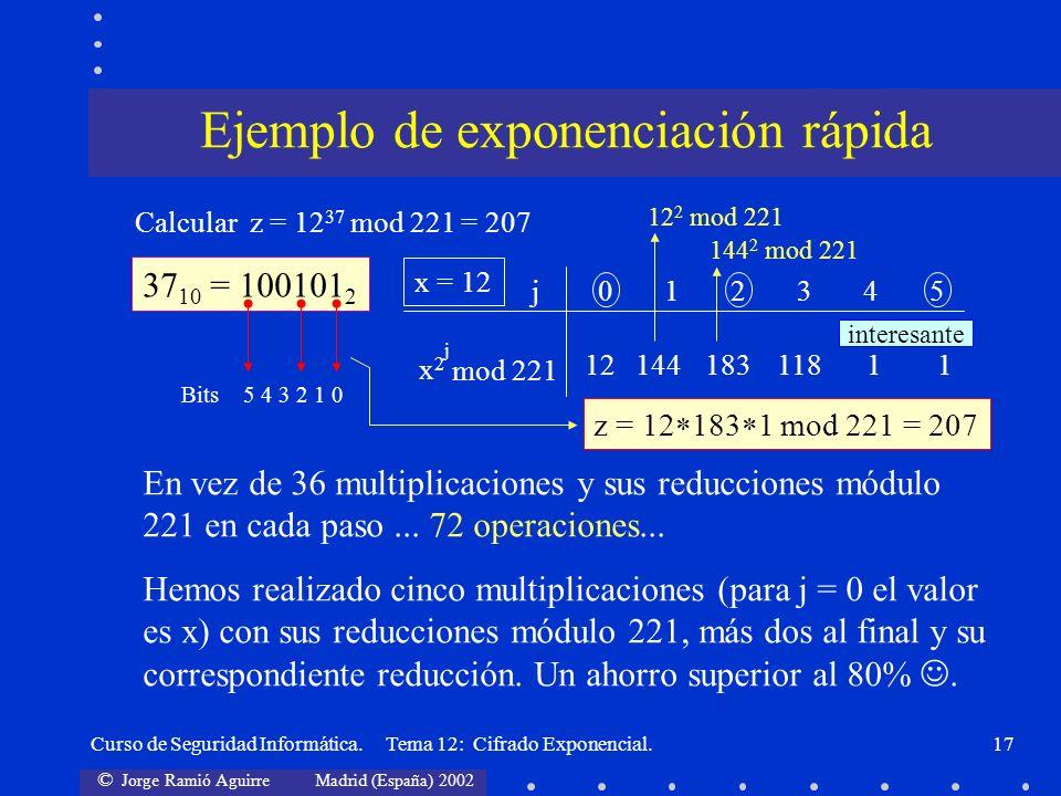 © Jorge Ramió Aguirre Madrid (España) 2002 Curso de Seguridad Informática. Tema 12: Cifrado Exponencial.17 Calcular z = 12 37 mod 221 = 207 37 10 = 10
