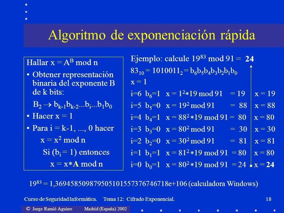 © Jorge Ramió Aguirre Madrid (España) 2002 Curso de Seguridad Informática. Tema 12: Cifrado Exponencial.18 Hallar x = A B mod n Obtener representación