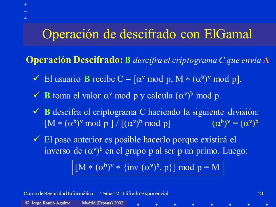 © Jorge Ramió Aguirre Madrid (España) 2002 Curso de Seguridad Informática. Tema 12: Cifrado Exponencial.21 El usuario B recibe C = [ mod p, M ( b ) mo