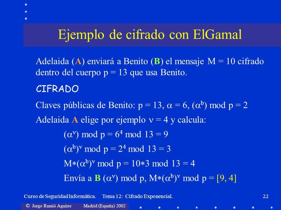 © Jorge Ramió Aguirre Madrid (España) 2002 Curso de Seguridad Informática. Tema 12: Cifrado Exponencial.22 Adelaida (A) enviará a Benito (B) el mensaj