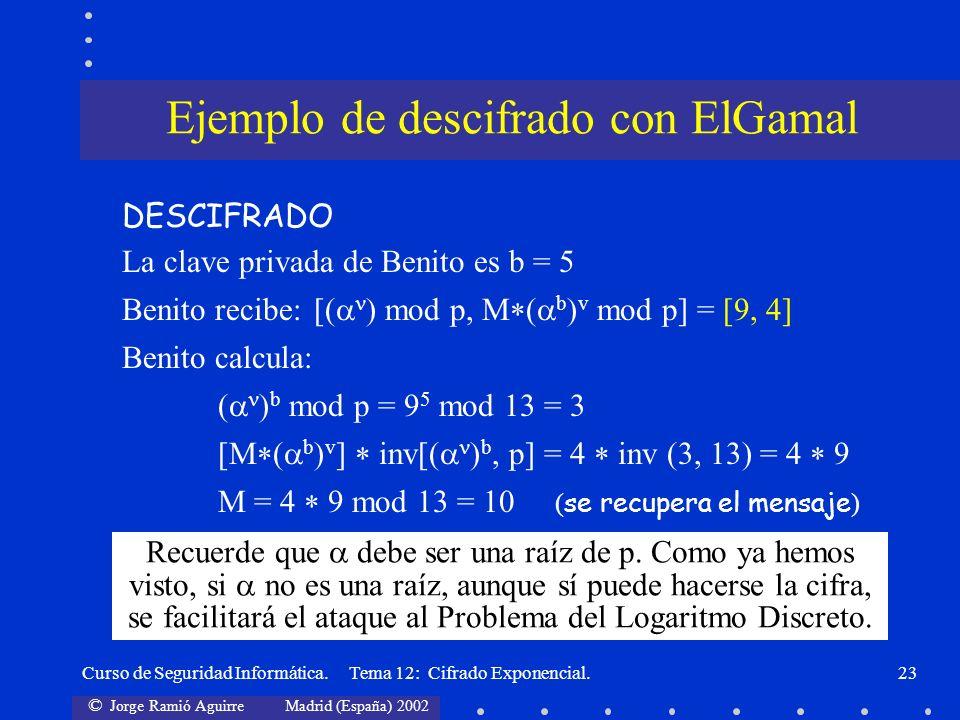 © Jorge Ramió Aguirre Madrid (España) 2002 Curso de Seguridad Informática. Tema 12: Cifrado Exponencial.23 DESCIFRADO La clave privada de Benito es b