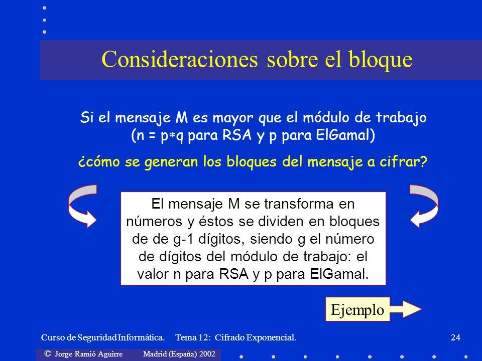 © Jorge Ramió Aguirre Madrid (España) 2002 Curso de Seguridad Informática. Tema 12: Cifrado Exponencial.24 Ejemplo Si el mensaje M es mayor que el mód