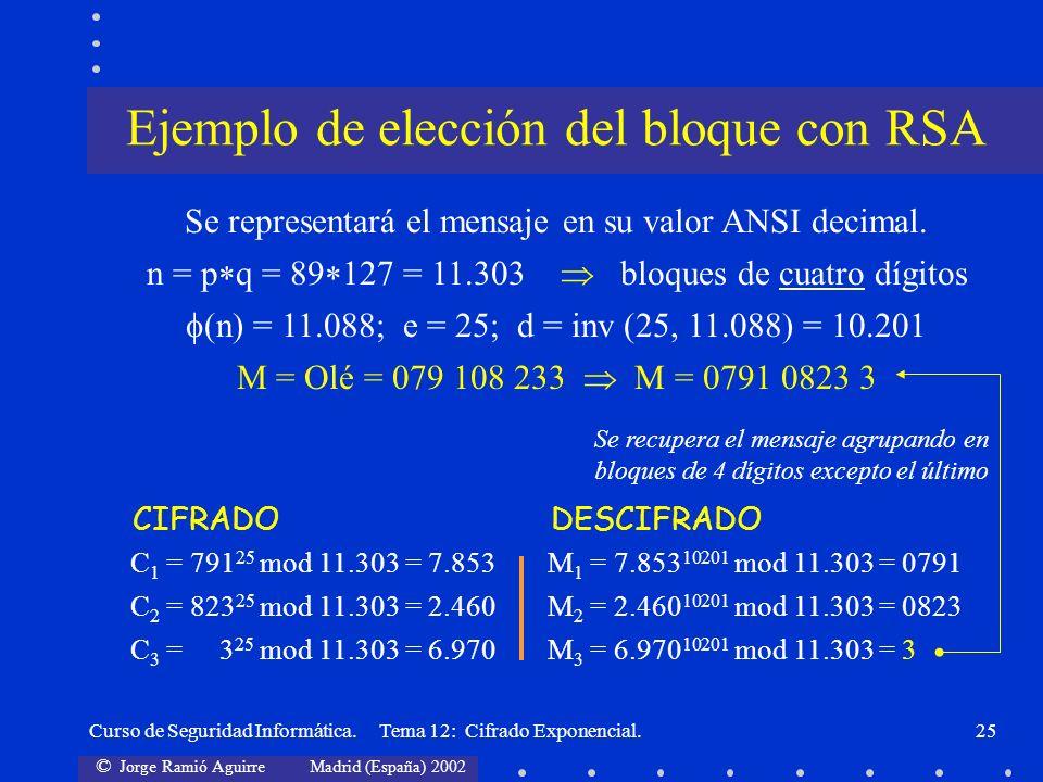 © Jorge Ramió Aguirre Madrid (España) 2002 Curso de Seguridad Informática. Tema 12: Cifrado Exponencial.25 Se representará el mensaje en su valor ANSI