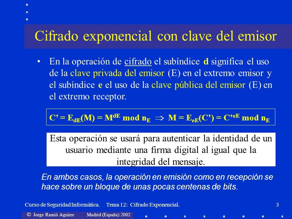 © Jorge Ramió Aguirre Madrid (España) 2002 Curso de Seguridad Informática. Tema 12: Cifrado Exponencial.3 En la operación de cifrado el subíndice d si