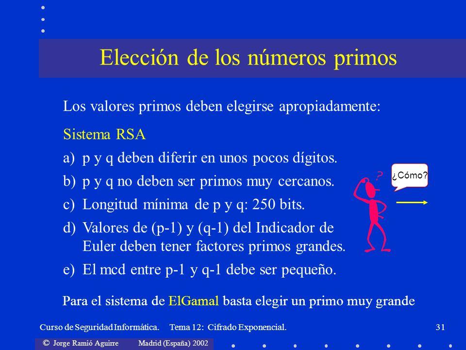 © Jorge Ramió Aguirre Madrid (España) 2002 Curso de Seguridad Informática. Tema 12: Cifrado Exponencial.31 Los valores primos deben elegirse apropiada