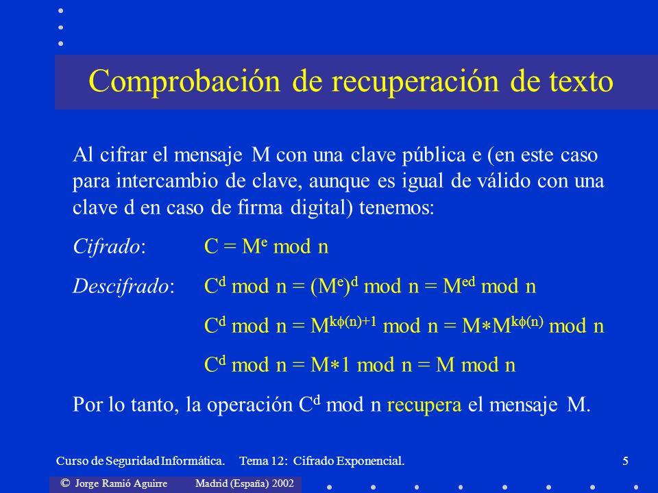 © Jorge Ramió Aguirre Madrid (España) 2002 Curso de Seguridad Informática. Tema 12: Cifrado Exponencial.5 Al cifrar el mensaje M con una clave pública
