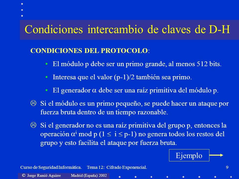 © Jorge Ramió Aguirre Madrid (España) 2002 Curso de Seguridad Informática. Tema 12: Cifrado Exponencial.9 CONDICIONES DEL PROTOCOLO: El módulo p debe