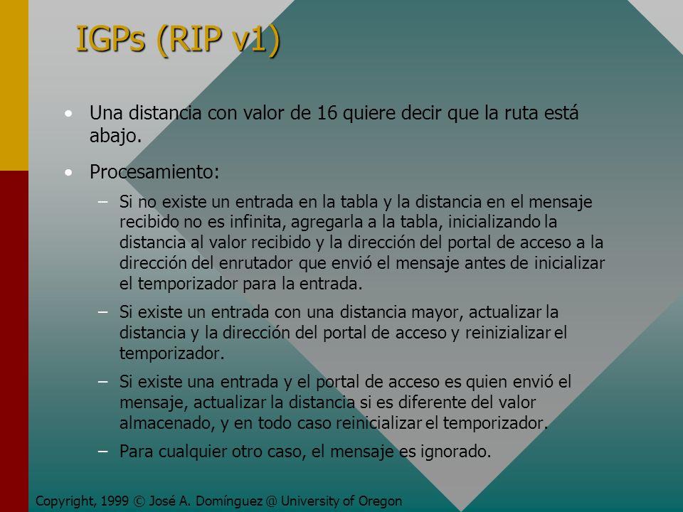 IGPs (RIP v1) Una distancia con valor de 16 quiere decir que la ruta está abajo.