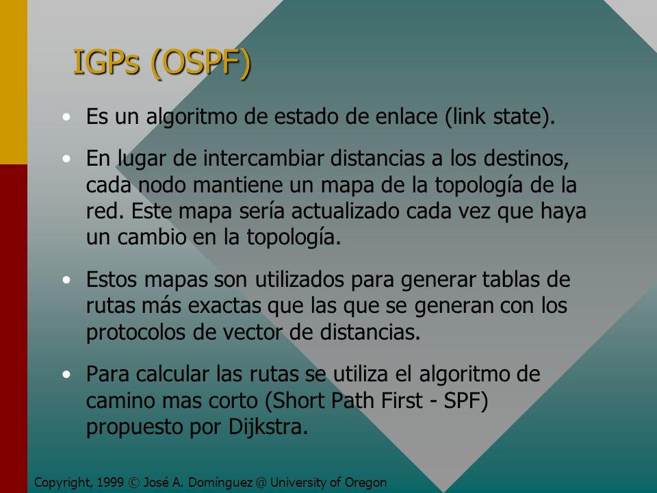 IGPs (OSPF) Es un algoritmo de estado de enlace (link state).