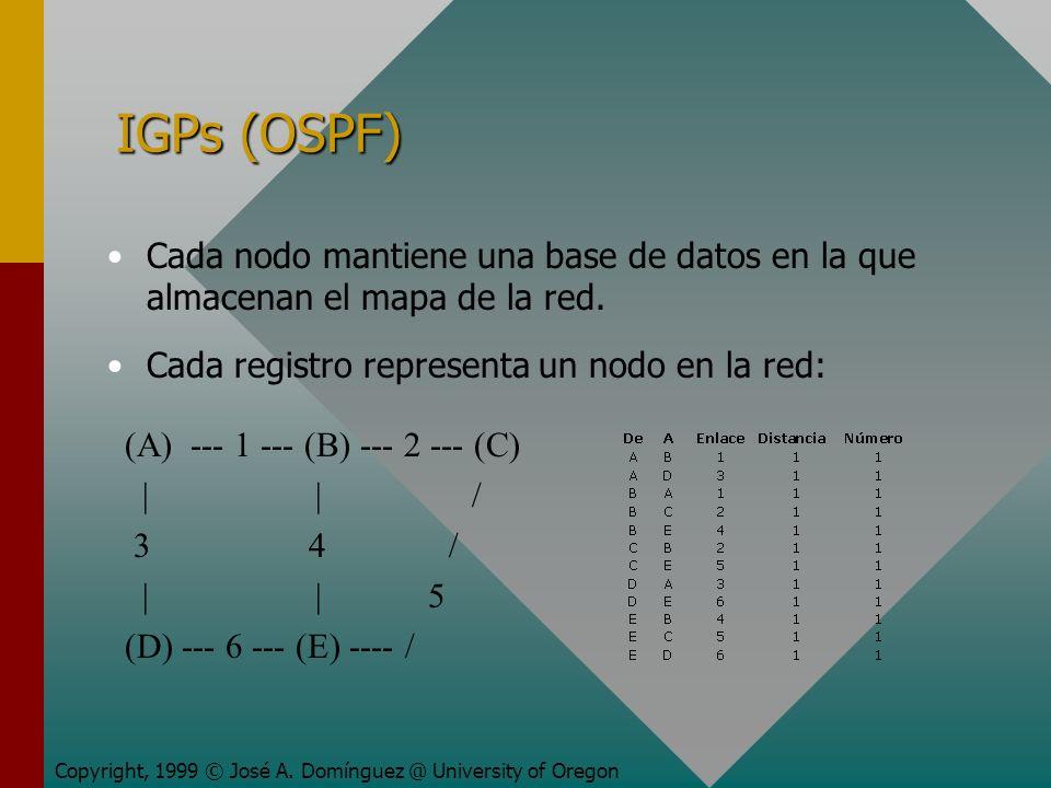 IGPs (OSPF) Cada nodo mantiene una base de datos en la que almacenan el mapa de la red.