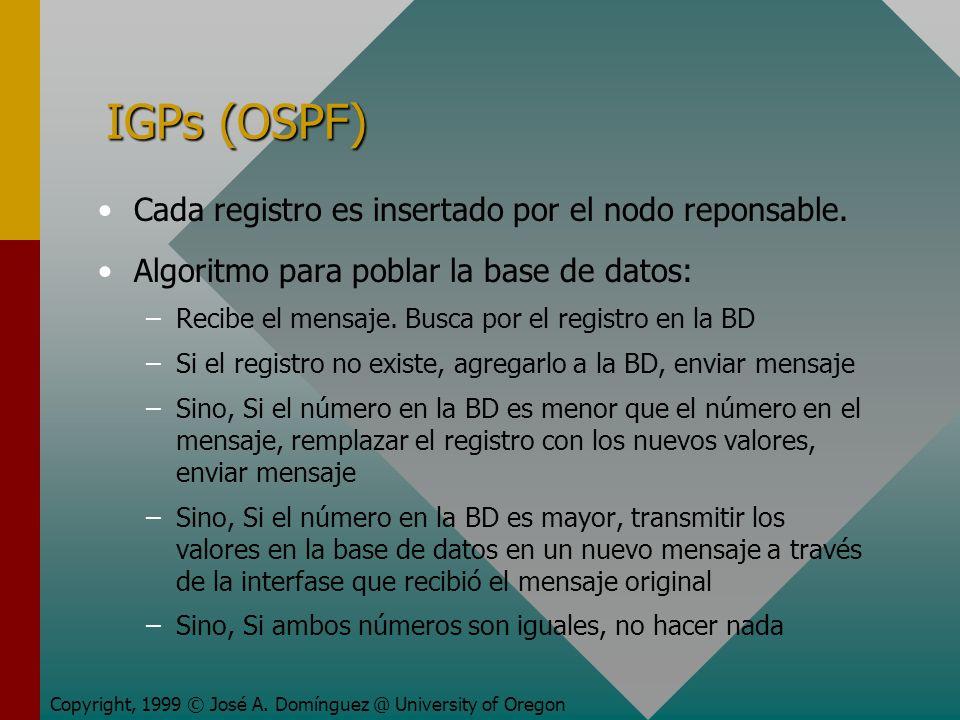 IGPs (OSPF) Cada registro es insertado por el nodo reponsable.