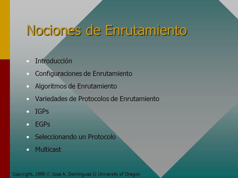 Nociones de Enrutamiento Introducción Configuraciones de Enrutamiento Algoritmos de Enrutamiento Variedades de Protocolos de Enrutamiento IGPs EGPs Seleccionando un Protocolo Multicast Copyright, 1999 © José A.