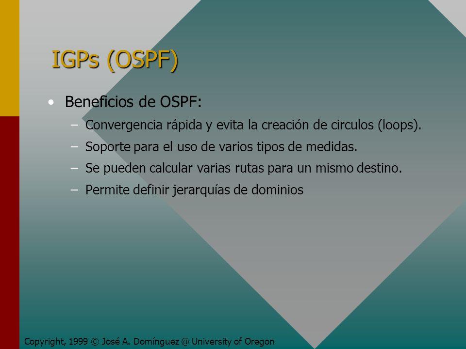 IGPs (OSPF) Beneficios de OSPF: – –Convergencia rápida y evita la creación de circulos (loops).