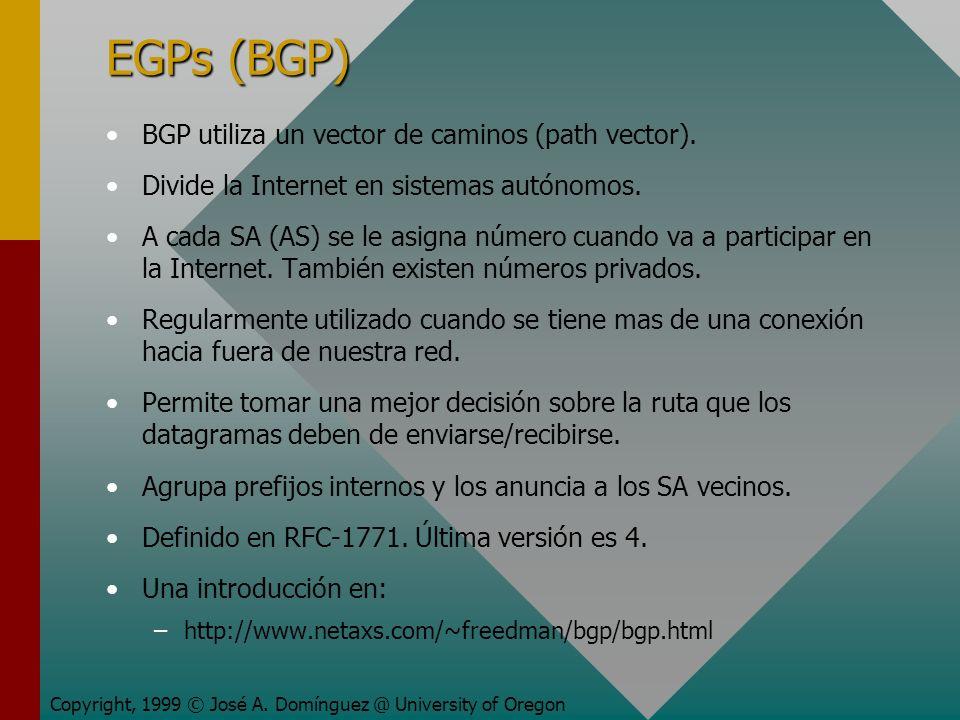 EGPs (BGP) BGP utiliza un vector de caminos (path vector).