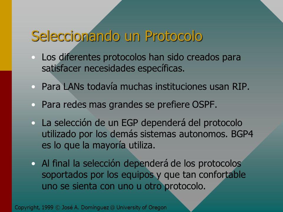 Seleccionando un Protocolo Los diferentes protocolos han sido creados para satisfacer necesidades específicas.