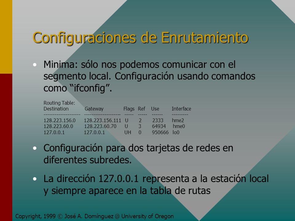 Configuraciones de Enrutamiento Minima: sólo nos podemos comunicar con el segmento local.