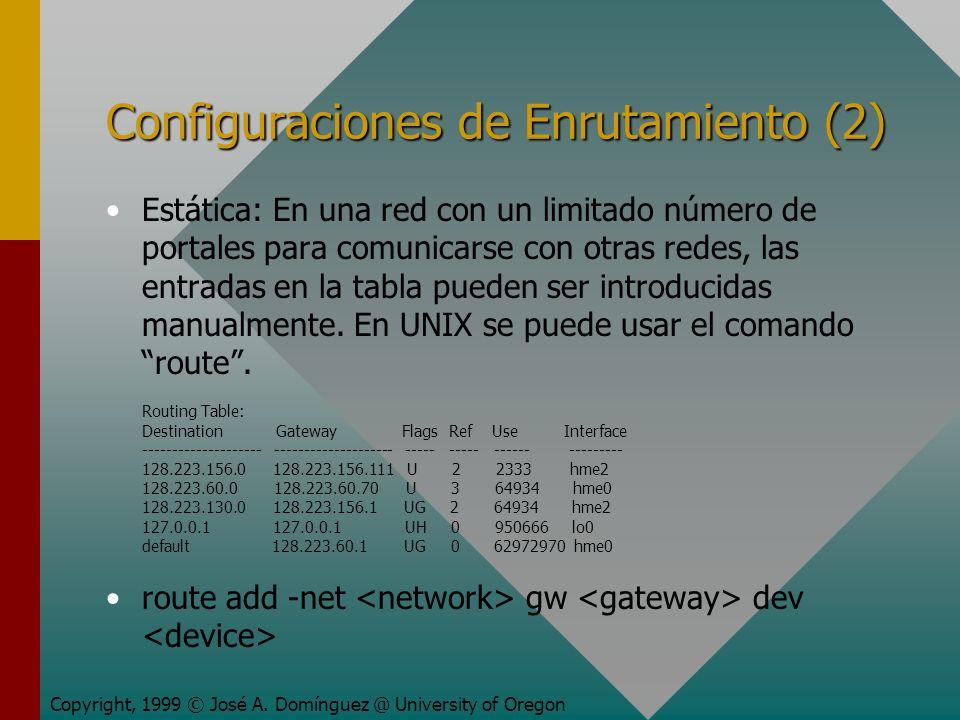 Configuraciones de Enrutamiento (2) Estática: En una red con un limitado número de portales para comunicarse con otras redes, las entradas en la tabla pueden ser introducidas manualmente.