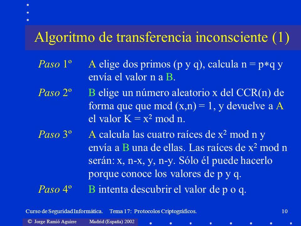 © Jorge Ramió Aguirre Madrid (España) 2002 Curso de Seguridad Informática. Tema 17: Protocolos Criptográficos.10 Paso 1ºA elige dos primos (p y q), ca