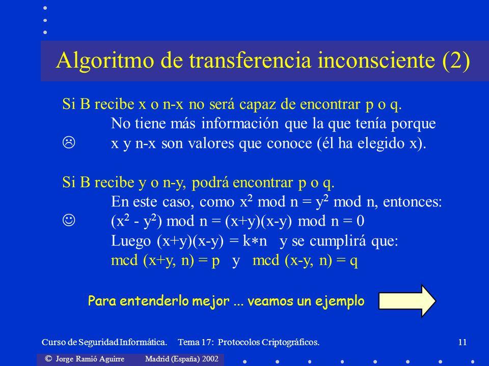 © Jorge Ramió Aguirre Madrid (España) 2002 Curso de Seguridad Informática. Tema 17: Protocolos Criptográficos.11 Si B recibe x o n-x no será capaz de