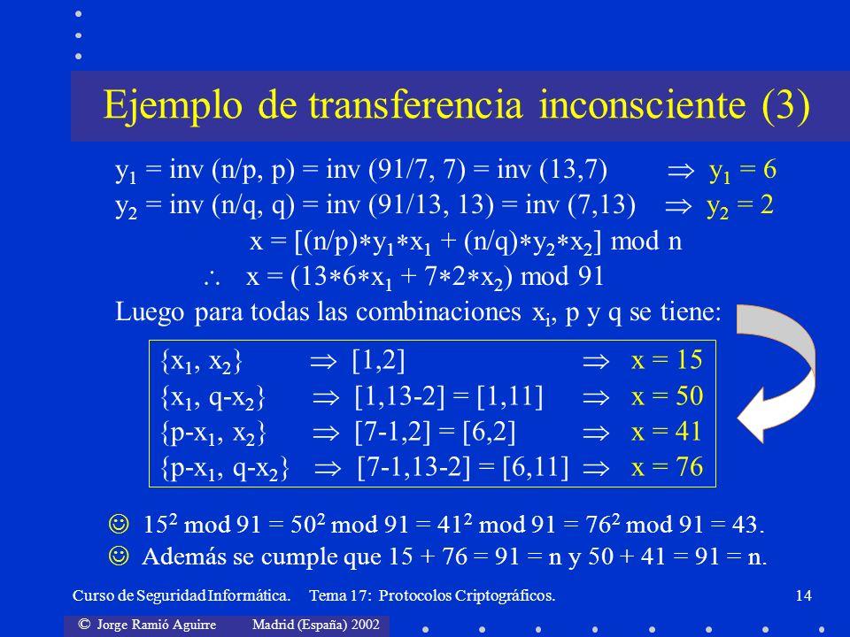 © Jorge Ramió Aguirre Madrid (España) 2002 Curso de Seguridad Informática. Tema 17: Protocolos Criptográficos.14 {x 1, x 2 } [1,2] x = 15 {x 1, q-x 2