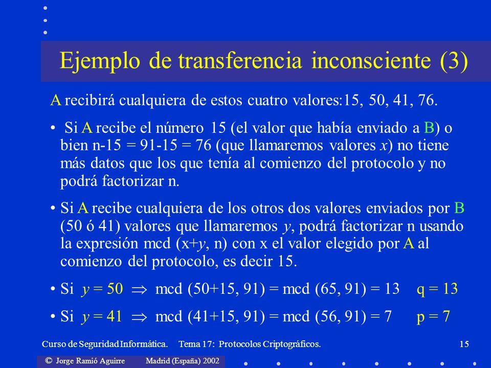 © Jorge Ramió Aguirre Madrid (España) 2002 Curso de Seguridad Informática. Tema 17: Protocolos Criptográficos.15 A recibirá cualquiera de estos cuatro