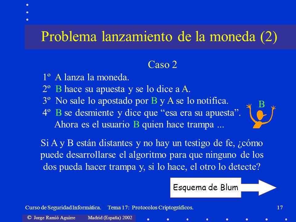 © Jorge Ramió Aguirre Madrid (España) 2002 Curso de Seguridad Informática. Tema 17: Protocolos Criptográficos.17 Caso 2 1º A lanza la moneda. 2º B hac
