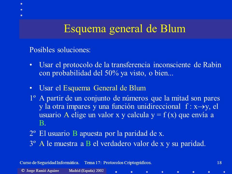 © Jorge Ramió Aguirre Madrid (España) 2002 Curso de Seguridad Informática. Tema 17: Protocolos Criptográficos.18 Posibles soluciones: Usar el protocol