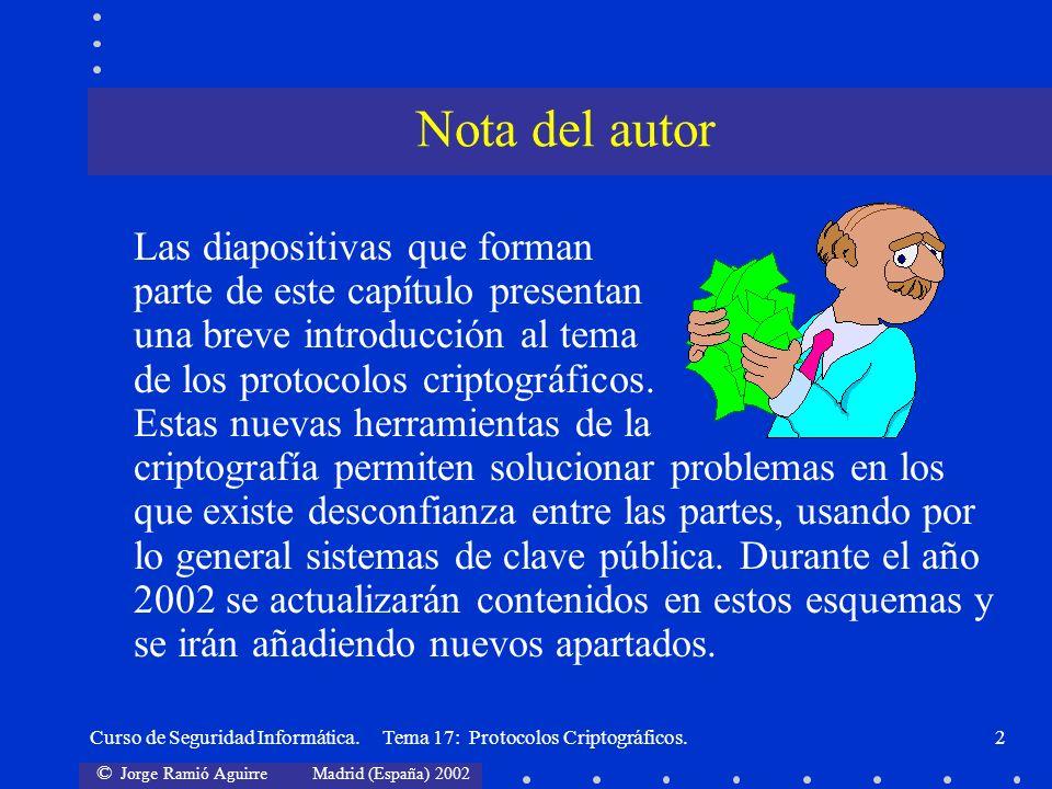 © Jorge Ramió Aguirre Madrid (España) 2002 Curso de Seguridad Informática. Tema 17: Protocolos Criptográficos.2 Las diapositivas que forman parte de e