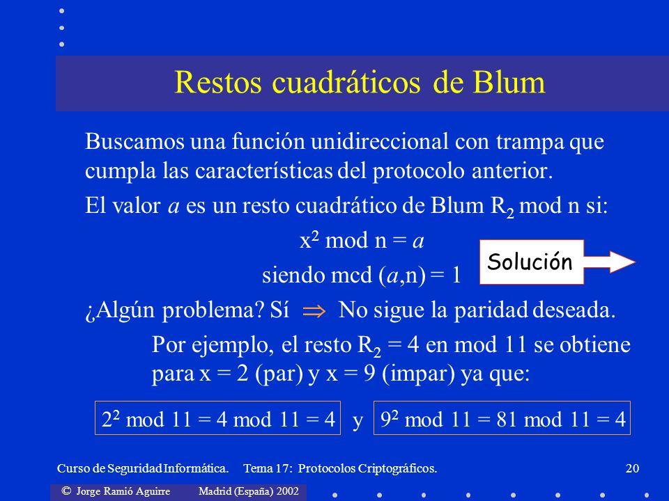 © Jorge Ramió Aguirre Madrid (España) 2002 Curso de Seguridad Informática. Tema 17: Protocolos Criptográficos.20 Buscamos una función unidireccional c