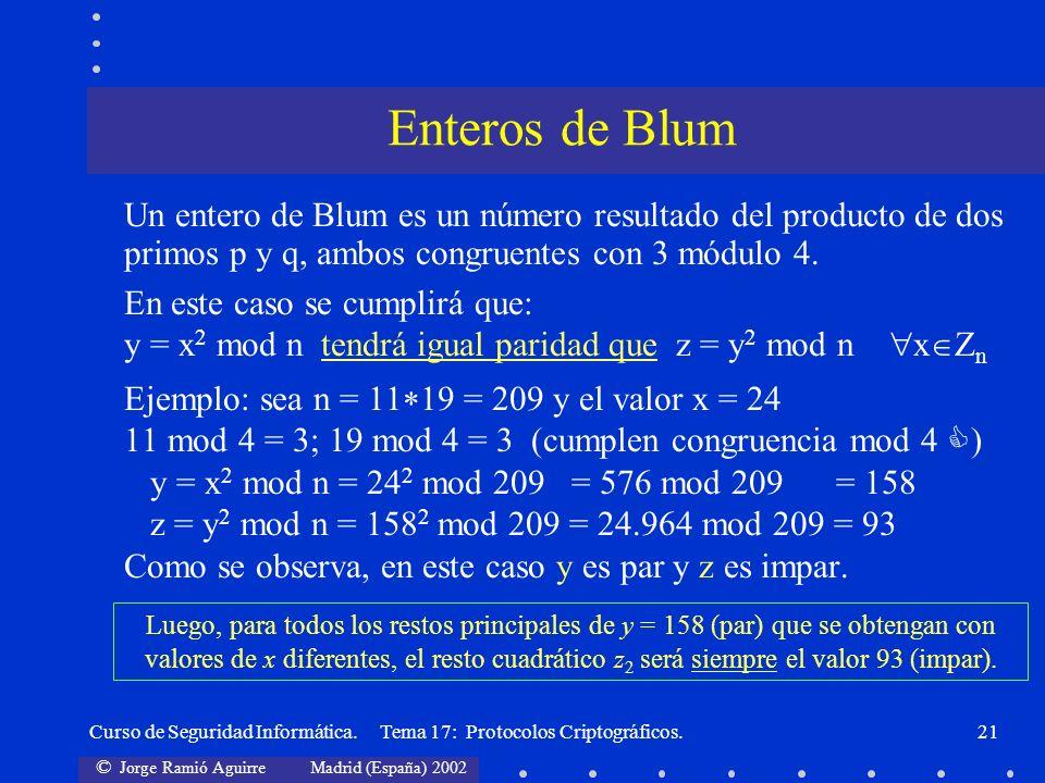 © Jorge Ramió Aguirre Madrid (España) 2002 Curso de Seguridad Informática. Tema 17: Protocolos Criptográficos.21 Un entero de Blum es un número result