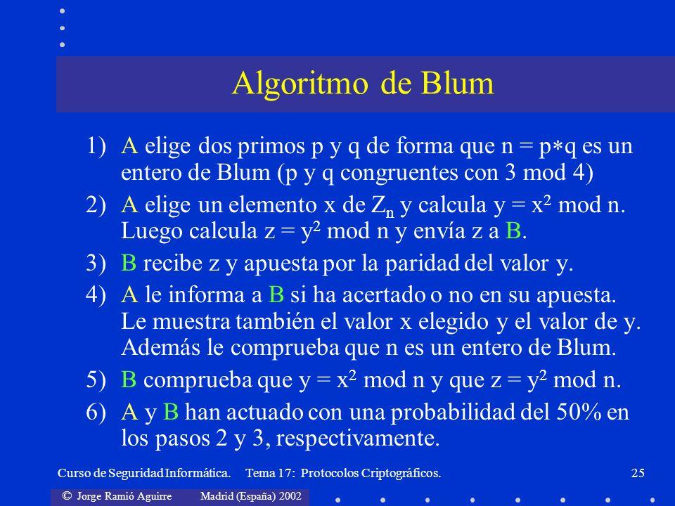 © Jorge Ramió Aguirre Madrid (España) 2002 Curso de Seguridad Informática. Tema 17: Protocolos Criptográficos.25 1)A elige dos primos p y q de forma q