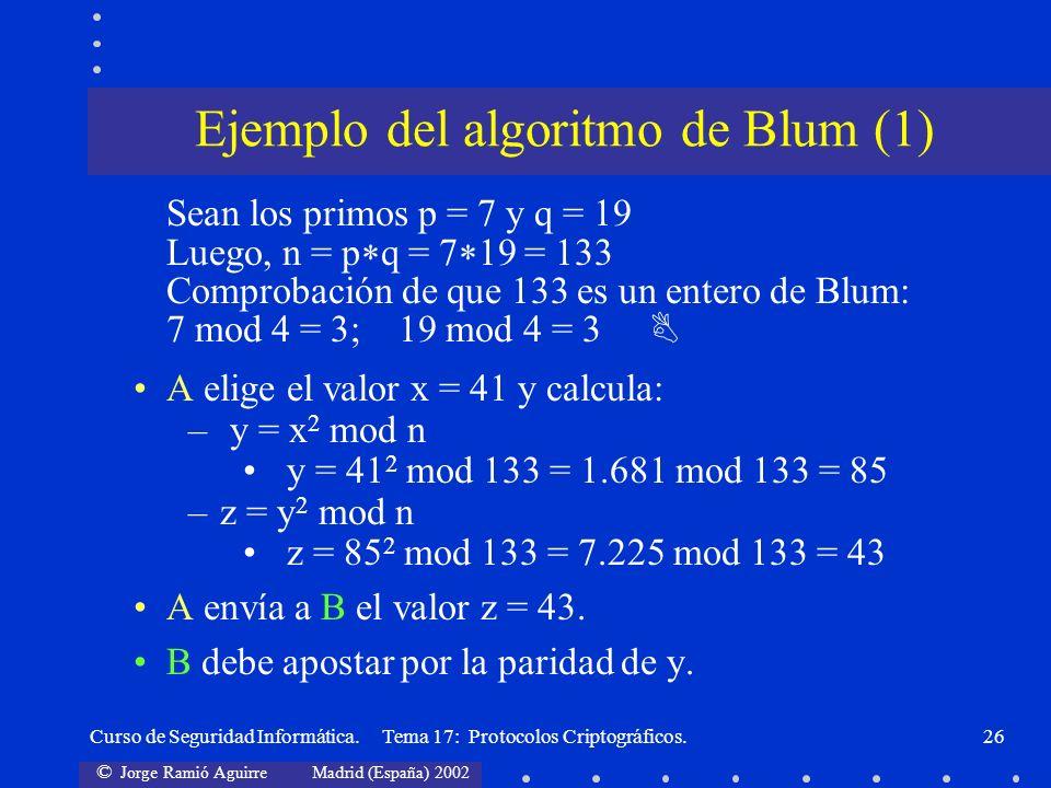 © Jorge Ramió Aguirre Madrid (España) 2002 Curso de Seguridad Informática. Tema 17: Protocolos Criptográficos.26 Sean los primos p = 7 y q = 19 Luego,