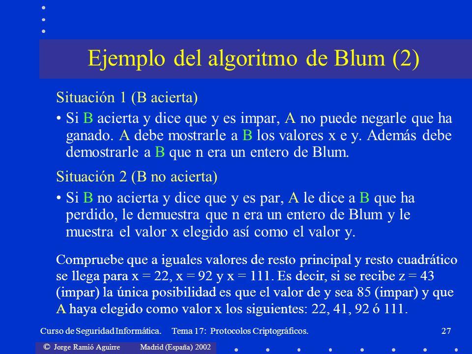 © Jorge Ramió Aguirre Madrid (España) 2002 Curso de Seguridad Informática. Tema 17: Protocolos Criptográficos.27 Situación 1 (B acierta) Si B acierta