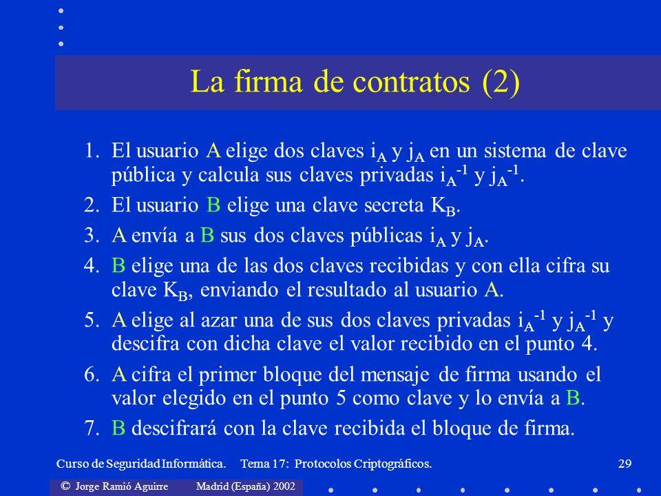 © Jorge Ramió Aguirre Madrid (España) 2002 Curso de Seguridad Informática. Tema 17: Protocolos Criptográficos.29 1. El usuario A elige dos claves i A