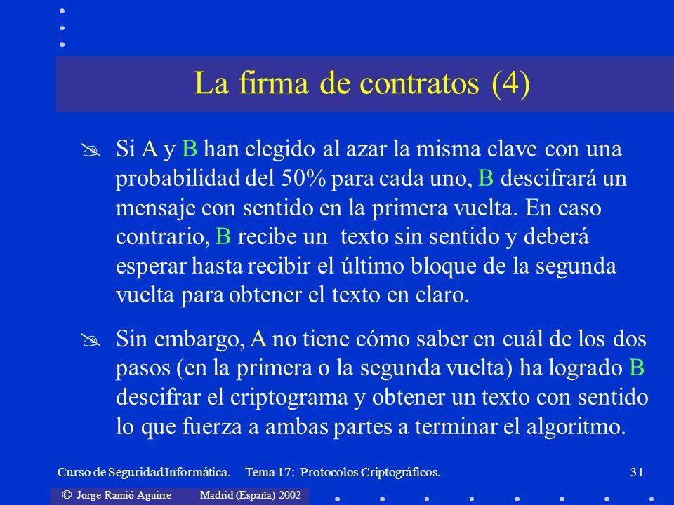 © Jorge Ramió Aguirre Madrid (España) 2002 Curso de Seguridad Informática. Tema 17: Protocolos Criptográficos.31 Si A y B han elegido al azar la misma