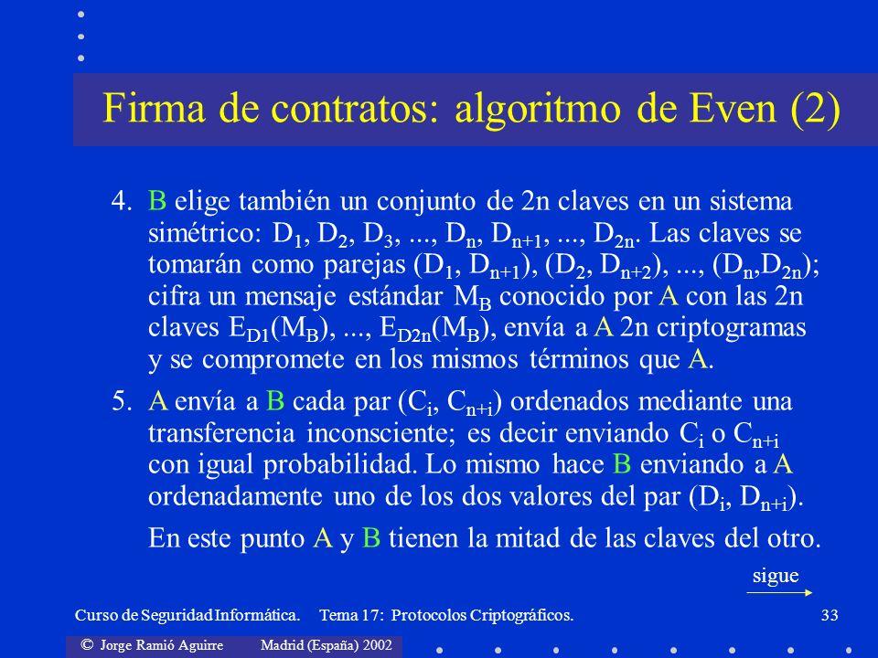 © Jorge Ramió Aguirre Madrid (España) 2002 Curso de Seguridad Informática. Tema 17: Protocolos Criptográficos.33 4.B elige también un conjunto de 2n c