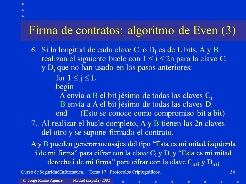 © Jorge Ramió Aguirre Madrid (España) 2002 Curso de Seguridad Informática. Tema 17: Protocolos Criptográficos.34 6. Si la longitud de cada clave C i o